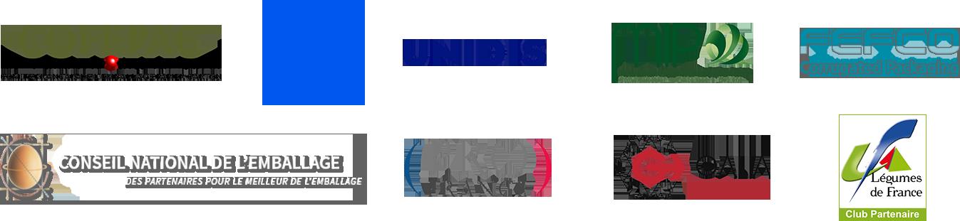 Les partenaires du Carton Ondulé de France : Cofepac, Revipac, Unidis, MIP, Fefco, Conseil national de l'emballage, PRO France, Galia et Légumes de France