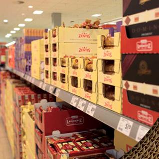 le carton ondulé pour les rayons de supermarchés